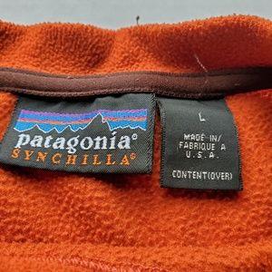 Patagonia Sweaters - Patagonia Synchilla Orange Pullover Fleece USA L